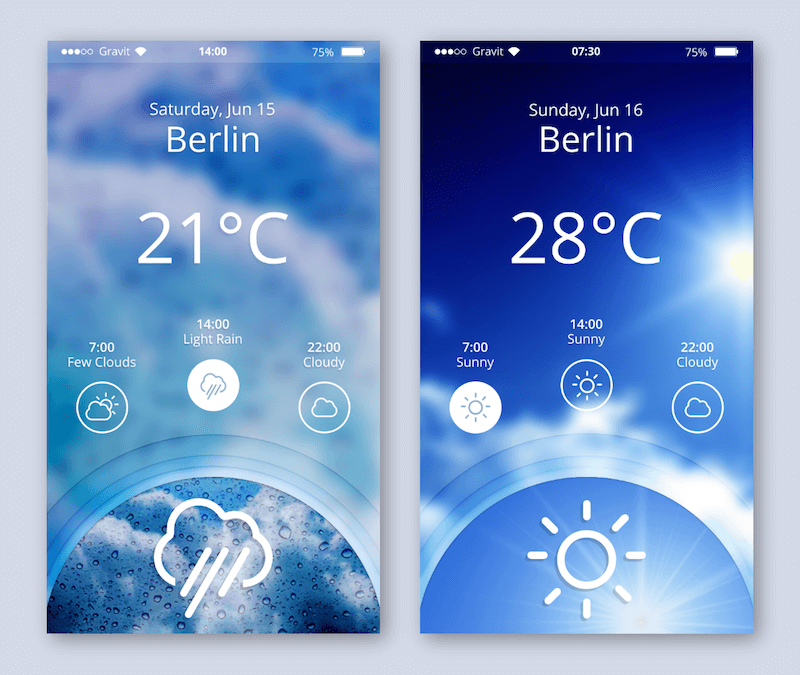 The completed weather app.