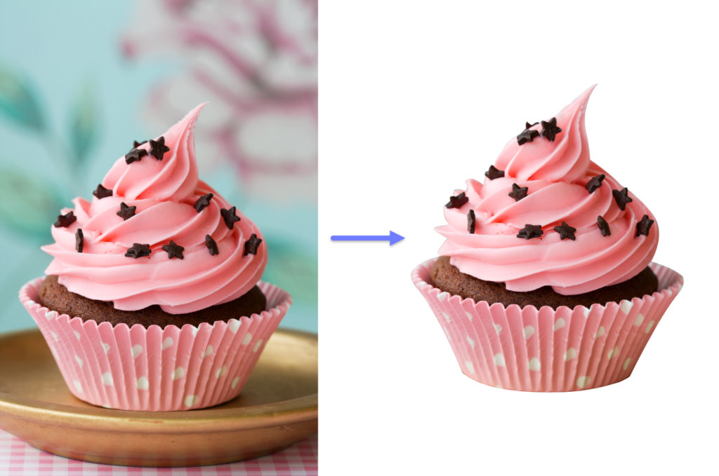 Cupcake image - original and masked.