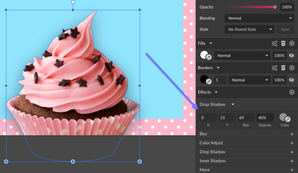 Add a drop shadow effect to the cupcake image.